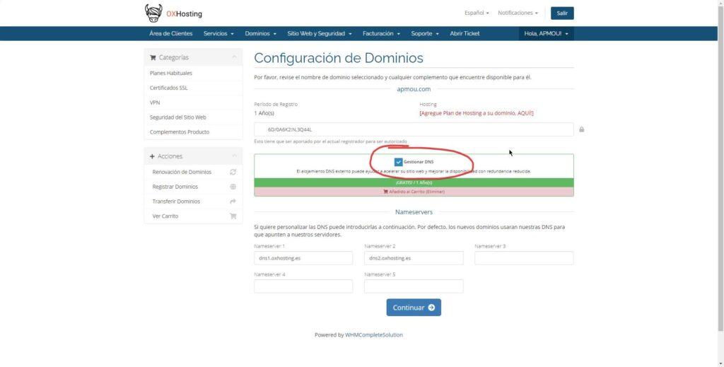 Solicitar la transferencia de un dominio si eres usuario de OXHosting 4