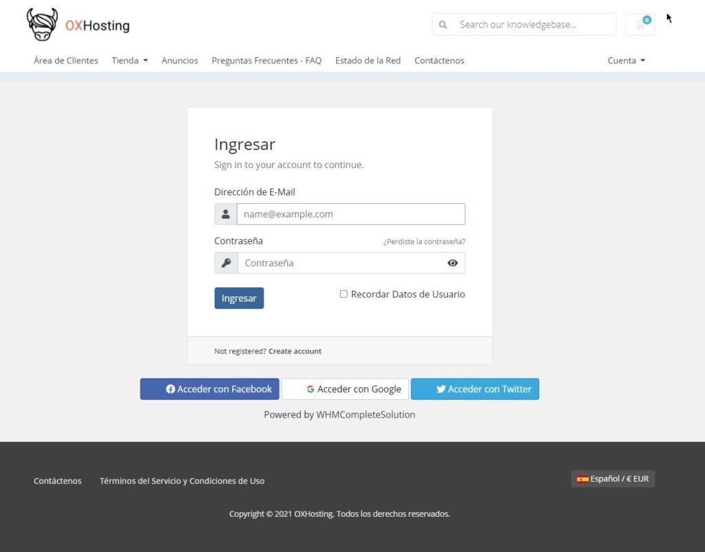 Solicitar la transferencia de un dominio si eres usuario de OXHosting 1