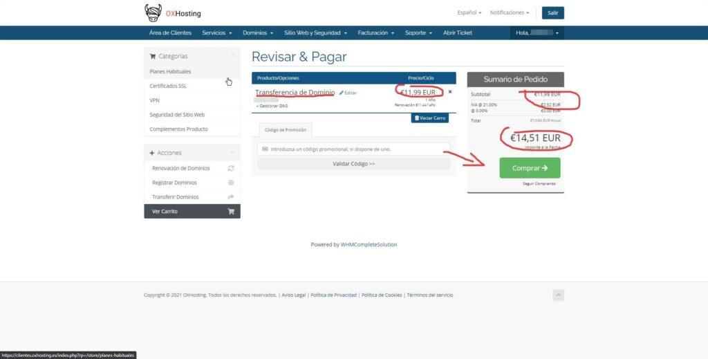 Solicitar la transferencia de un dominio si eres usuario de OXHosting 5